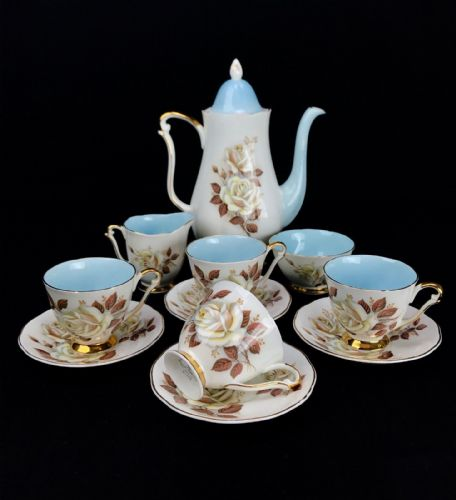 Vintage Royal Adderley Tea Set For Four People / 1970's / Blue / Floral